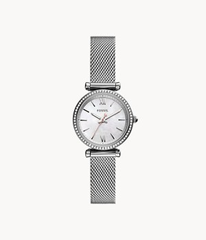 Carlie Mini Three-Hand Stainless Steel Mesh Watch