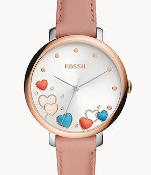 Jacqueline Three-Hand Pink Leather Watch