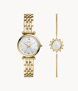 Carlie Mini Three-Hand Gold-Tone Stainless Steel Watch and Bracelet Set