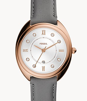 Gabby Three-Hand Date grey Leather Watch