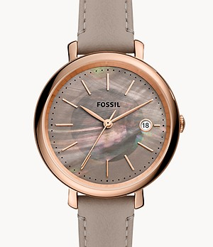Jacqueline Solar-Powered Gray Leather Watch