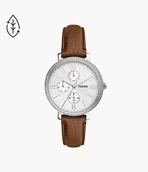 Jacqueline Multifunction Brown Leather Watch