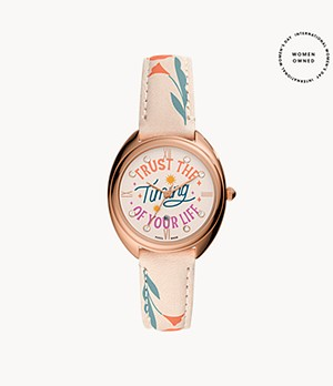 Gabby Three-Hand Date Nude Leather Watch