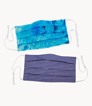 Set of 2 Reversible Tie-Dye and Striped Unisex Face Masks