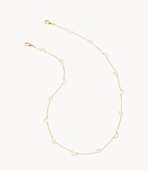 Gold-Tone Star and Moon Face Mask and Eyewear Chain