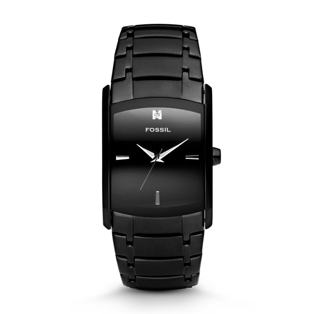 Dress Rectangle Black Stainless Steel Watch