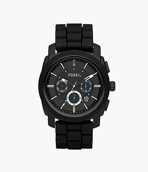 Machine Chronograph Black Silicone Watch