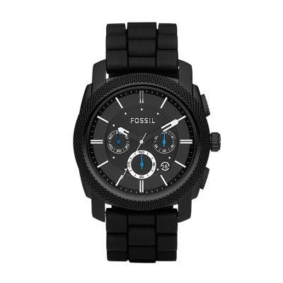 machine chronograph black silicone watch fossil rh fossil com Fossil Silicone Watch Fossil FS4487 Watch