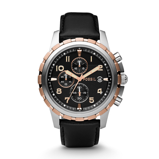 Dean Chronograph Black Leather Watch
