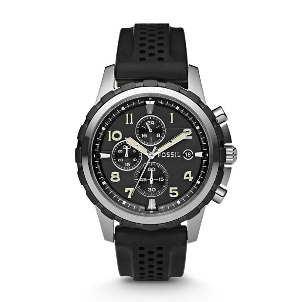 Dean Chronograph Silicone Watch-Black