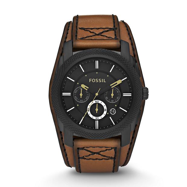 Machine Cuff Leather Watch - Desert Sand with Black