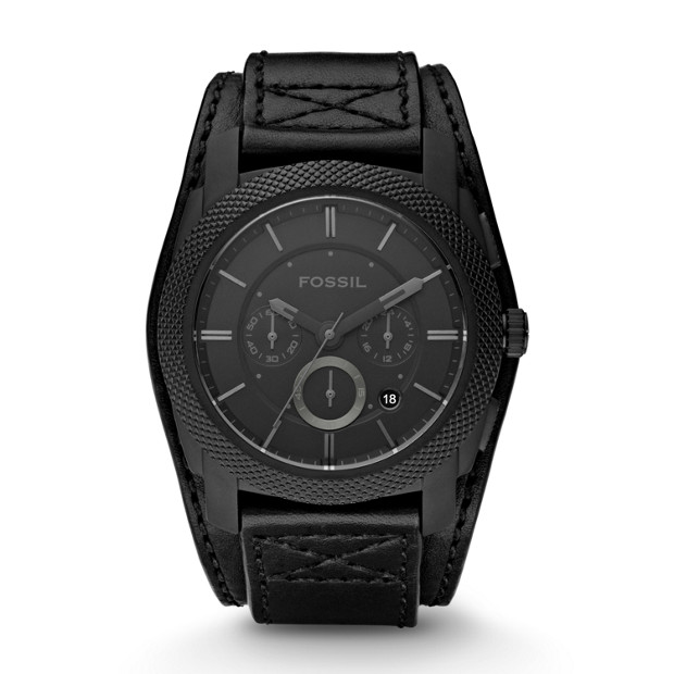 Machine Cuff Black Leather Watch