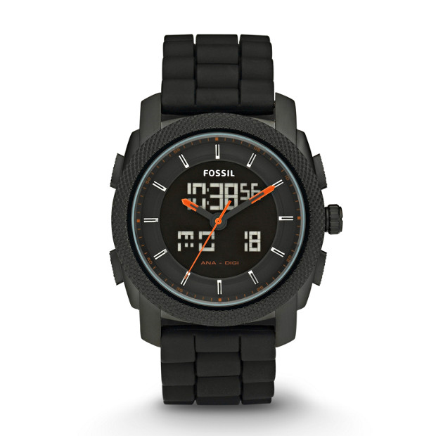 Machine Silicone Watch - Black with Orange