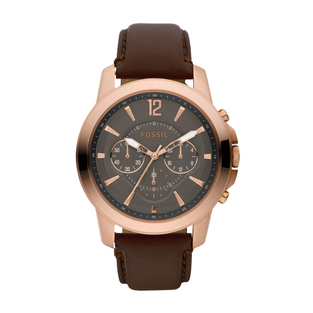 Grant Leather Watch – Brown with Rose