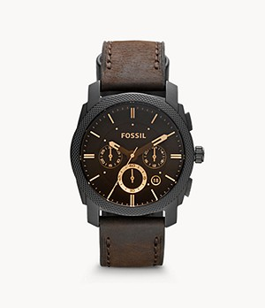 Machine Mid-Size Chronograph Brown Leather Watch