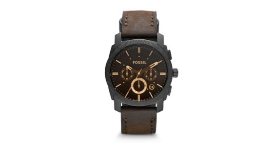 70d0d2a814307 Machine Mid-Size Chronograph Brown Leather Watch - Fossil