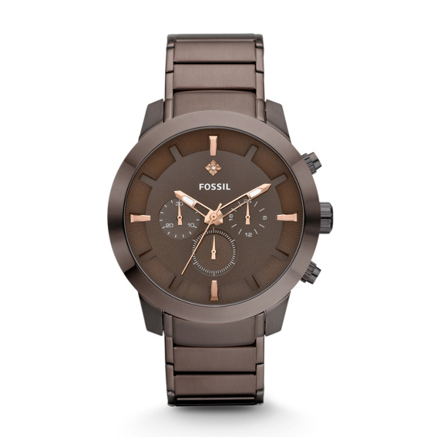 Dress Chronograph Stainless Steel Watch - Brown