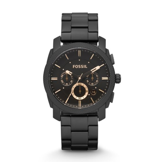 Machine Mid Size Chronograph Black Stainless Steel Watch Fossil