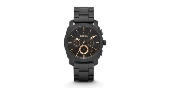 5a207af369a Machine Mid-Size Chronograph Black Stainless Steel Watch - Fossil