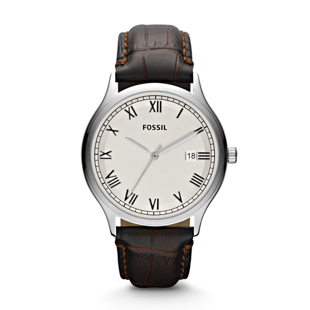 Ansel Three Hand Leather Watch - Brown