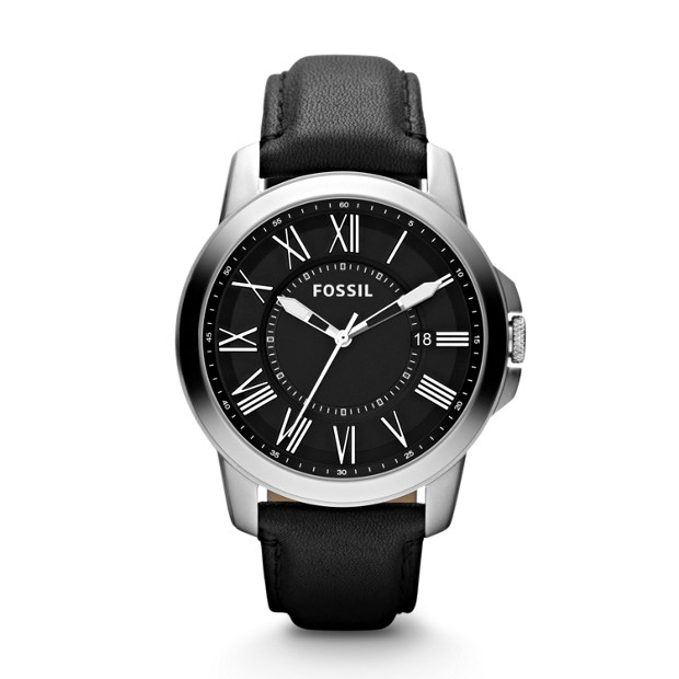 Grant Black Leather Watch