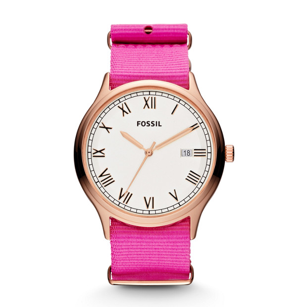 Ansel Three Hand Nylon Watch - Pink