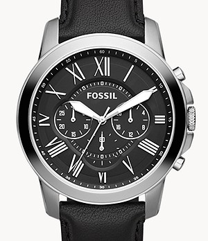Grant Chronograph Black Leather Watch