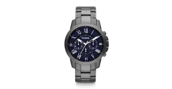 9dce6b839fdd Grant Chronograph Smoke Stainless Steel Watch - Fossil