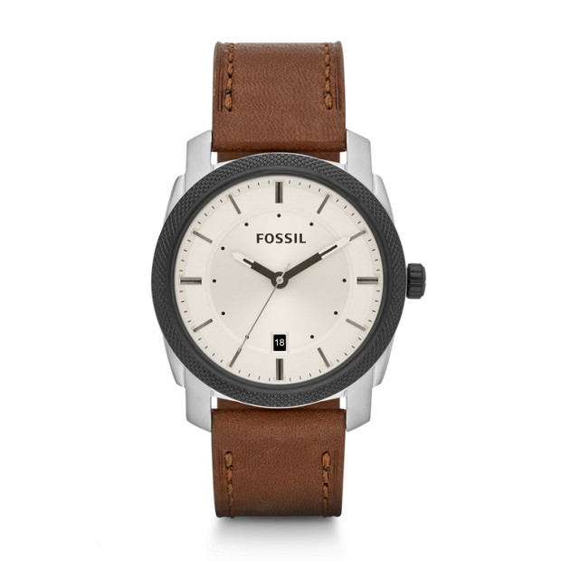 Machine Three-Hand Leather Watch - Brown