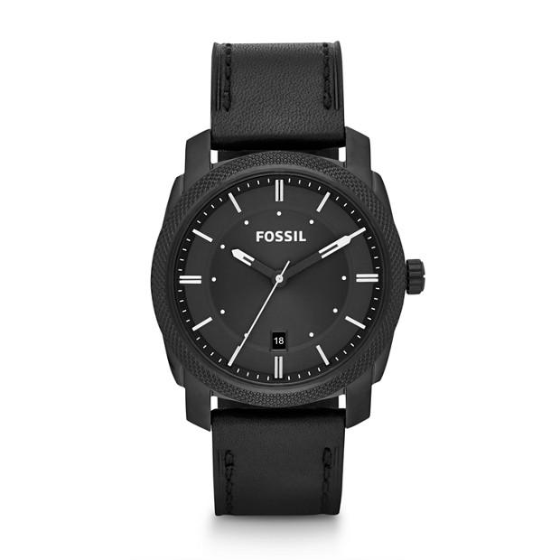 Machine Three Hand Leather Watch - Black
