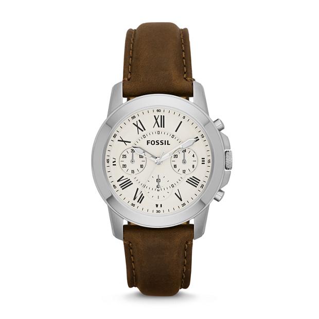 Montre Grant chronographe en cuir - Brun