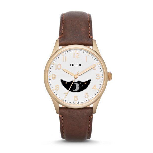 The Agent Three-Hand Moonphase Leather Watch - Brown