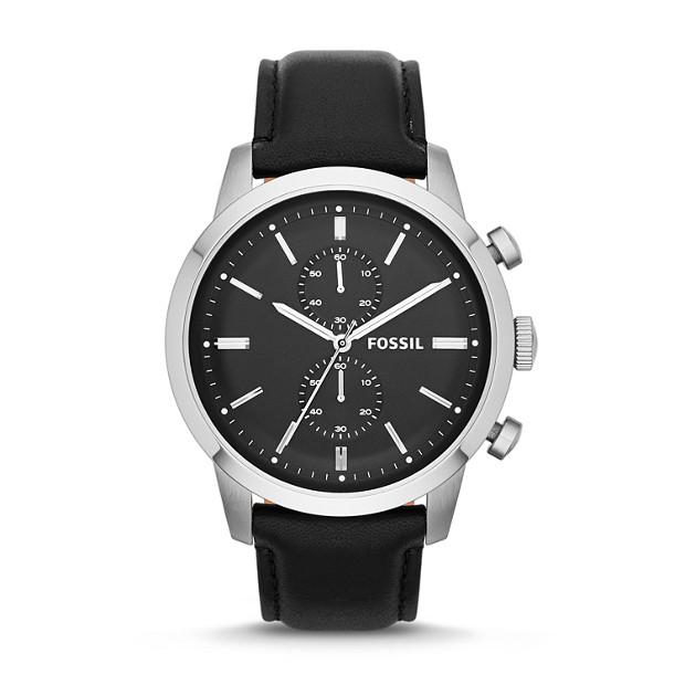 Townsman Chronograph Black Leather Watch
