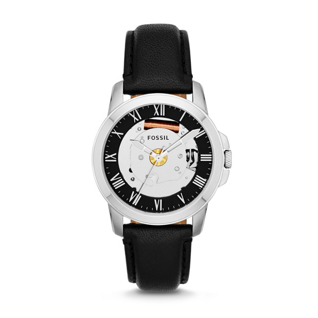 Grant Three-Hand Leather Watch - Black