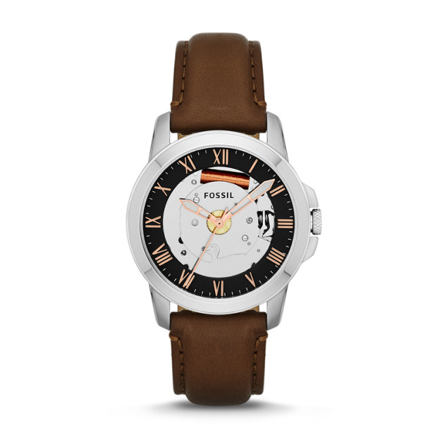 Grant Three-Hand Leather Watch - Brown
