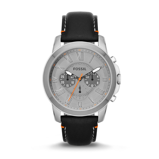 Grant Chronograph Leather Watch - Black