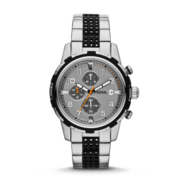 Dean Chronograph Silicone & Stainless Steel Watch