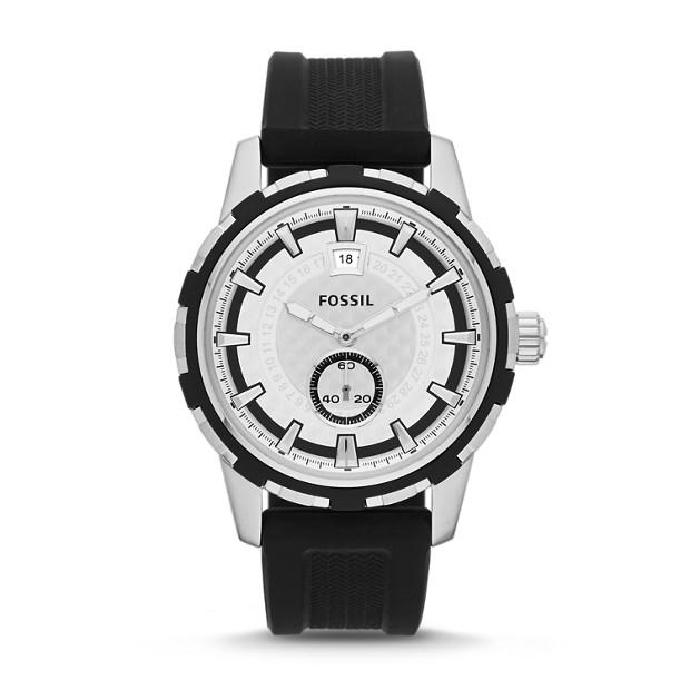Dean Three-Hand Date Silicone Watch - Black
