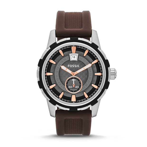 Dean Three-Hand Date Silicone Watch - Brown
