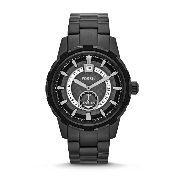 Dean Three-Hand Date Stainless Steel Watch - Black