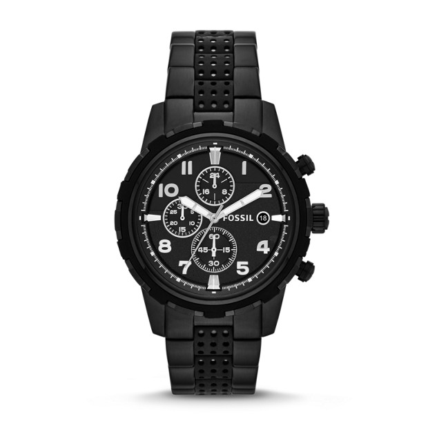 Dean Chronograph Stainless Steel and Silicone Watch - Black