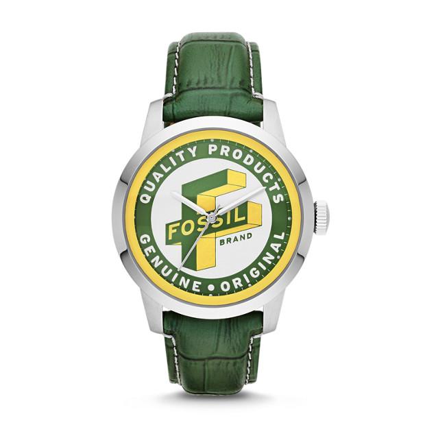 Townsman Three-Hand Leather Watch - Green