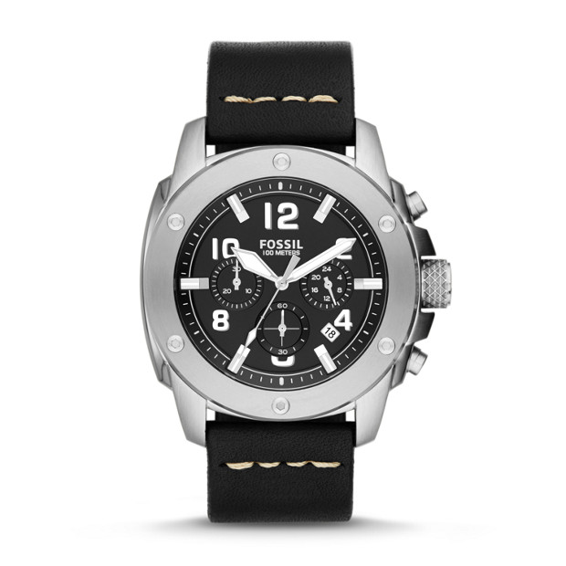 Modern Machine Chronograph Black Leather Watch