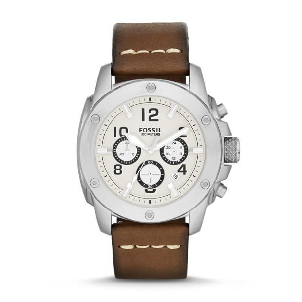 Modern Machine Chronograph Brown Leather Watch
