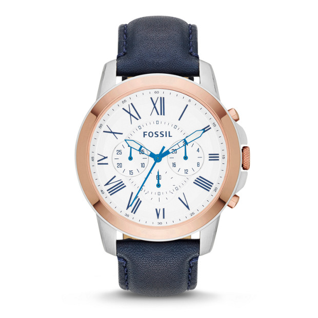 Grant Chronograph Navy Leather Watch