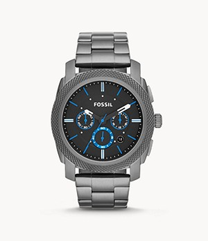 Montre Machine chronographe en acier inoxydable Gris anthracite