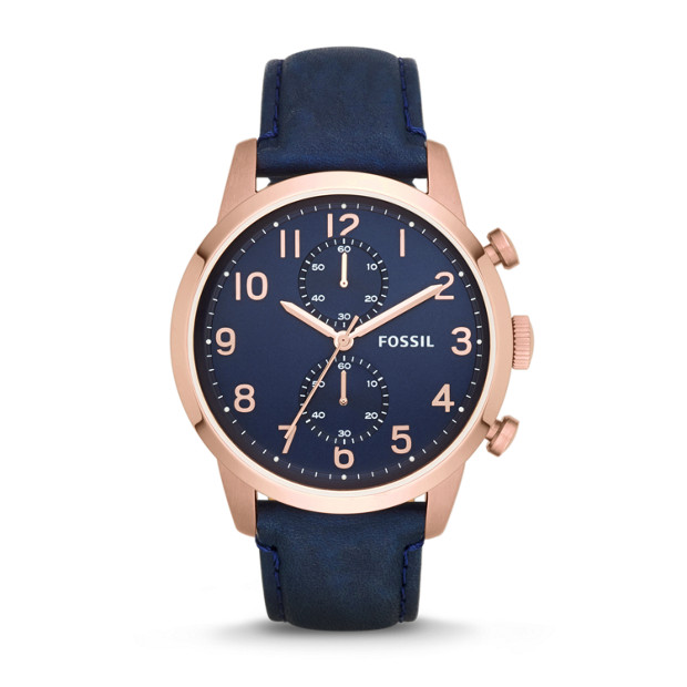 Townsman Chronograph Navy Leather Watch