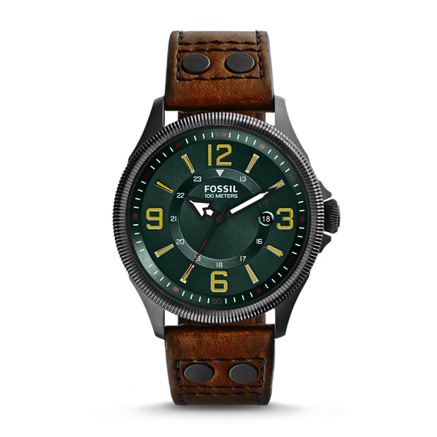 Recruiter Three-Hand Date Leather Watch - Brown