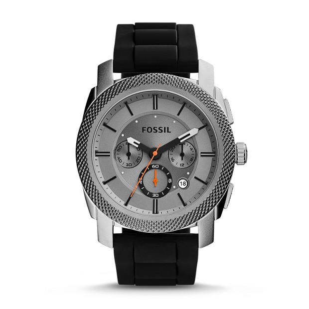 Machine Chronograph Black Silicone Watch