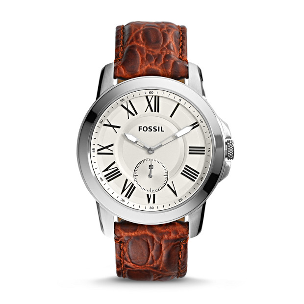 Grant Three-Hand Leather Watch – Brown Croco